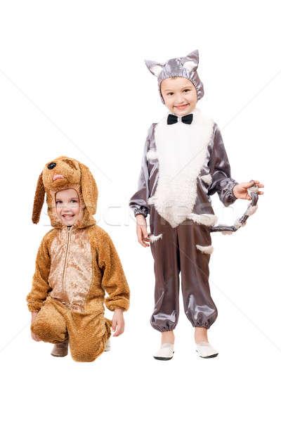 Photo stock: Garçons · chat · chien · isolé · bébé