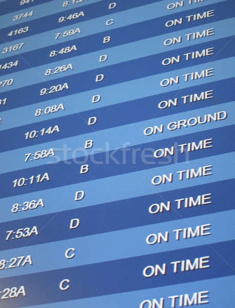 Idő repülőtér tábla kék repülőgép repülőgép Stock fotó © actionsports