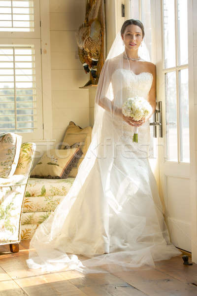 современных невеста цветы девушки улыбка Сток-фото © actionsports