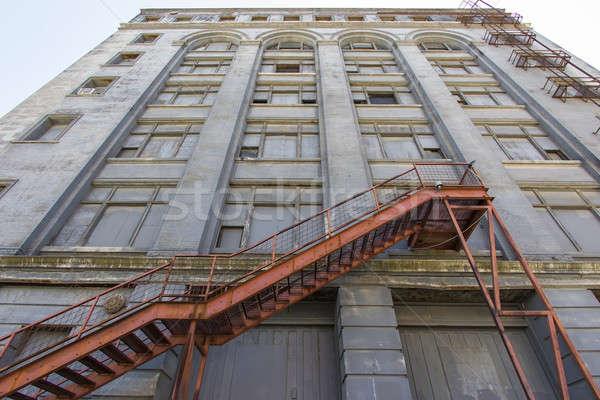 Escalier abandonné bâtiment rouille météorologiques Photo stock © actionsports