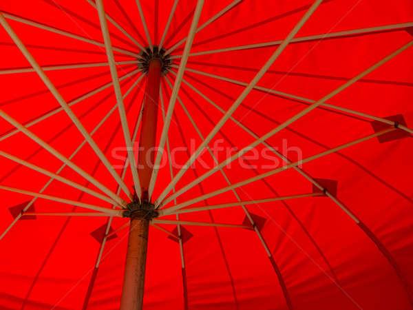 красный зонтик Открытый среде пляж Сток-фото © actionsports