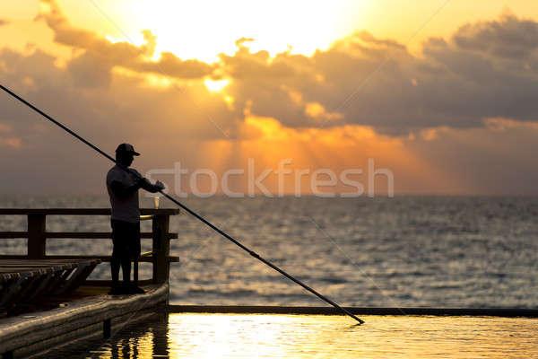 プール メンテナンス 若い男 エンドレス 夜明け 水 ストックフォト © actionsports
