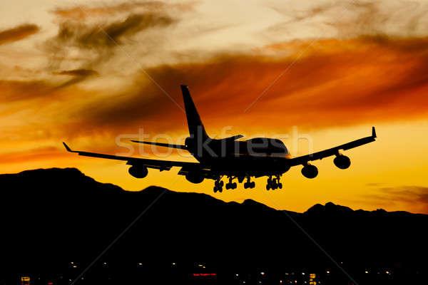 航空機 着陸 日没 商業 土地 空港 ストックフォト © actionsports