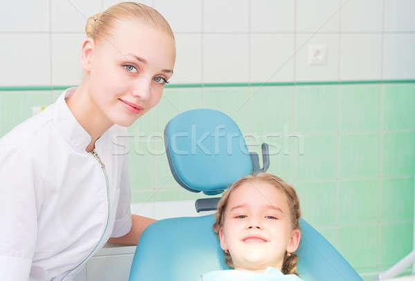 Fiatal orvos nő lány fogorvosi rendelő rendszeres Stock fotó © adam121