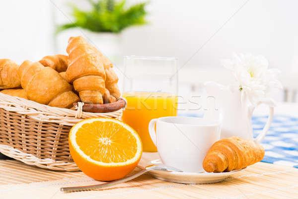 Temprano desayuno café jugo de naranja croissants desayuno continental Foto stock © adam121