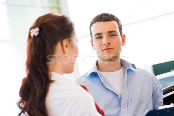 コンサルタント ショールーム 車 セールスマン 若い女の子 ストックフォト © adam121