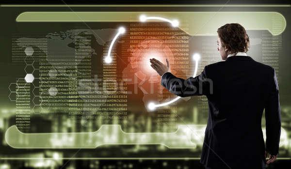 革新的な 技術 背面図 ビジネスマン 触れる アイコン ストックフォト © adam121