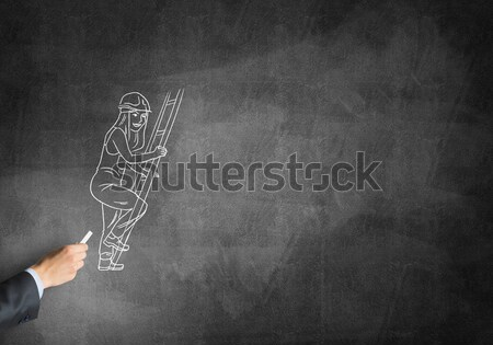 Caricatura mujer médico masculina mano dibujo Foto stock © adam121