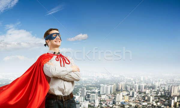 スーパーヒーロー 小さな 男 マスク 胸 ストックフォト © adam121