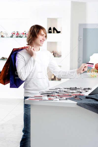 man at shopping checkout paying credit card Stock photo © adam121