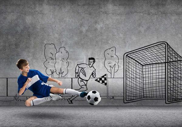 Foto stock: Futebol · campeão · escolas · menino · jogar