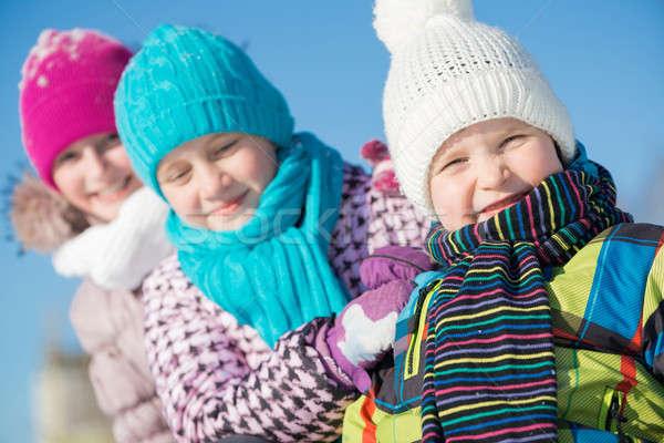 Inverno attività tre felice ragazzi Foto d'archivio © adam121