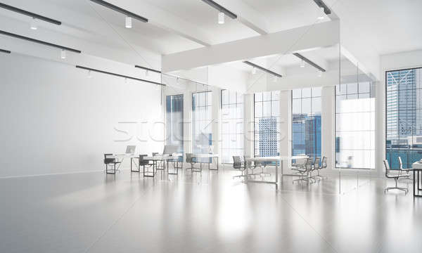 Office interior design in whire color and rays of light from window Stock photo © adam121