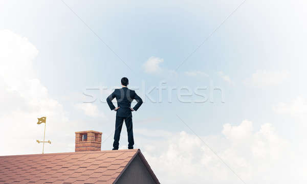 Mister boss on brick roof with arms akimbo. Mixed media Stock photo © adam121