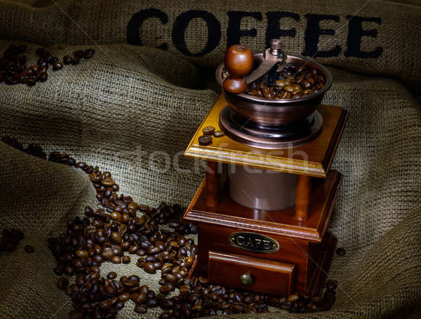 コーヒー ミル 豆 黄麻布 静物 木材 ストックフォト © adam121