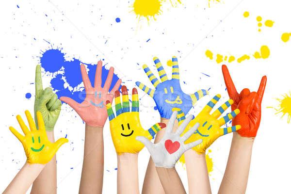 Photo stock: Peint · mains · différent · couleurs · école · enfant