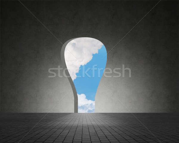 壁 終了する 雲 空 後ろ 建物 ストックフォト © adam121