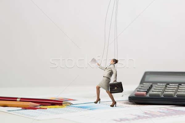 Femme d'affaires marionnette poupée bureau passé papeterie Photo stock © adam121