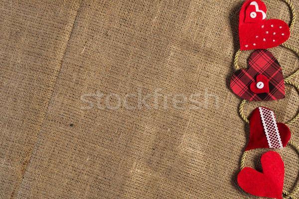 Csináld magad képeslap kézzel készített szeretet szívek barna Stock fotó © adam121