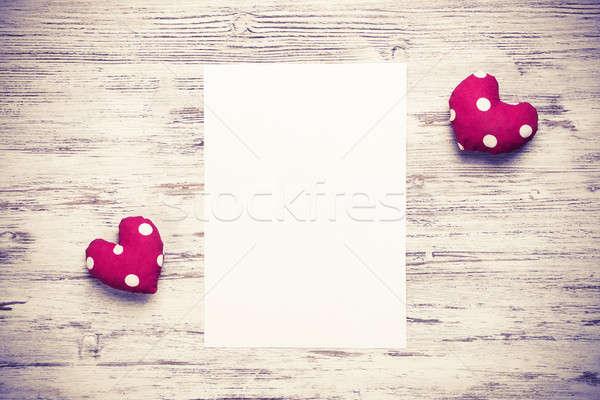 Szeretet üzenet meghívó szívek lap üres papír Stock fotó © adam121