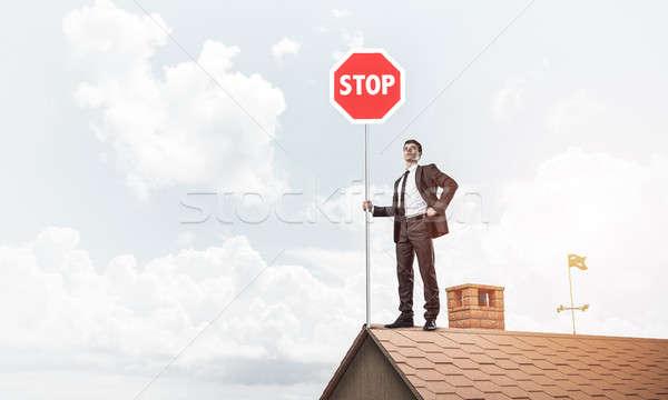 Imprenditore mattone casa tetto Foto d'archivio © adam121