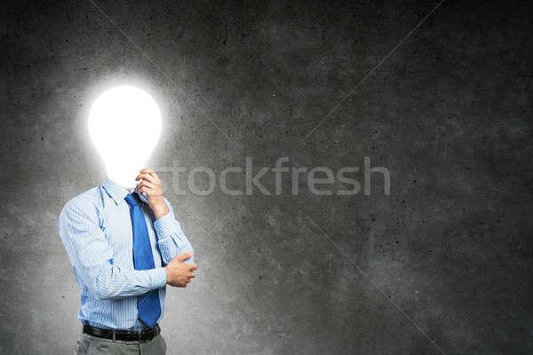 Foto stock: Homem · pensando · idéia · pensativo · empresário · lâmpada