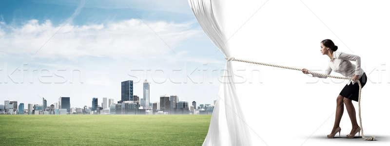 Mulher jovem abertura branco cortina moderno Foto stock © adam121