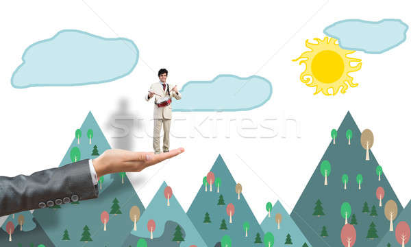 Stock photo: Palm supporting businessman