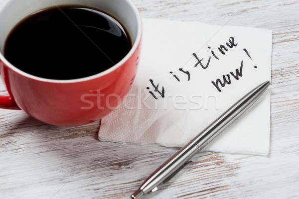 üzenet írott szalvéta csésze kávé papír Stock fotó © adam121