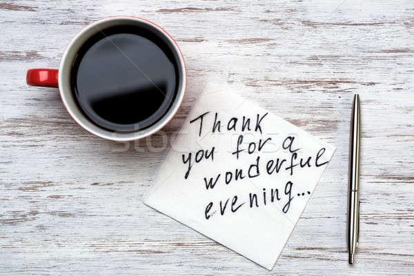 Stok fotoğraf: Romantik · mesaj · yazılı · peçete · fincan · kahve