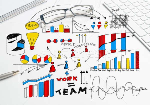 Stock fotó: Terv · jövedelmező · üzlet · szín · üzleti · stratégia · rajz