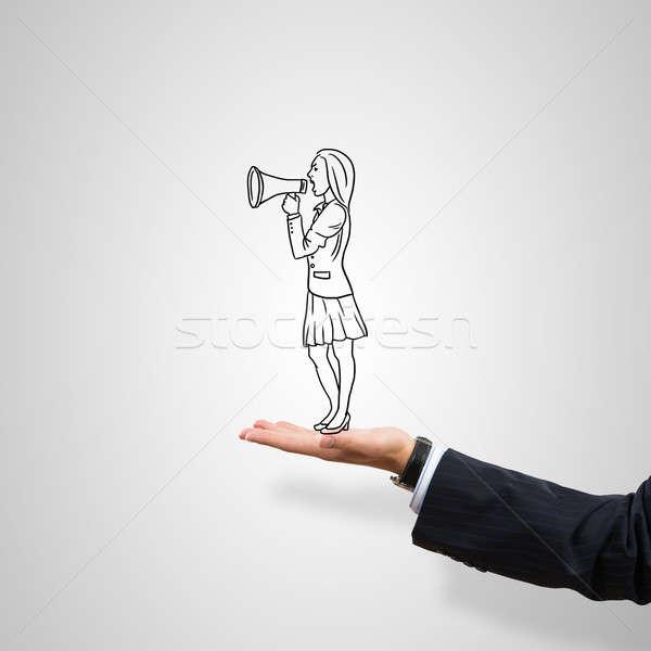 Kobieta interesu dłoni mężczyzna szary kobieta Zdjęcia stock © adam121