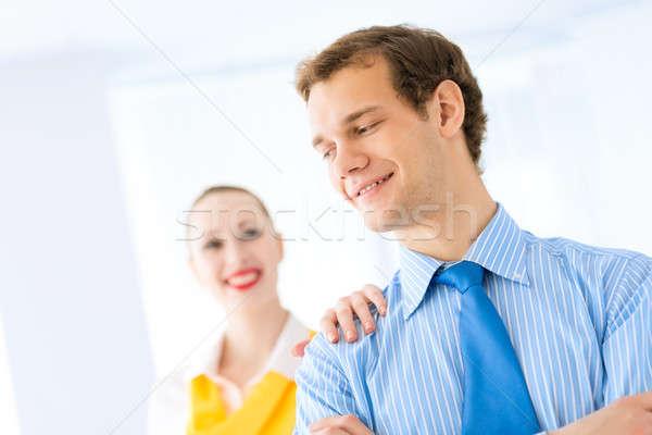 Geslaagd zakenman gefeliciteerd collega's leiderschap Stockfoto © adam121