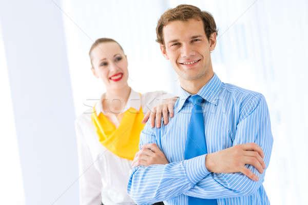 Exitoso empresario felicitaciones colegas trabajo en equipo Foto stock © adam121