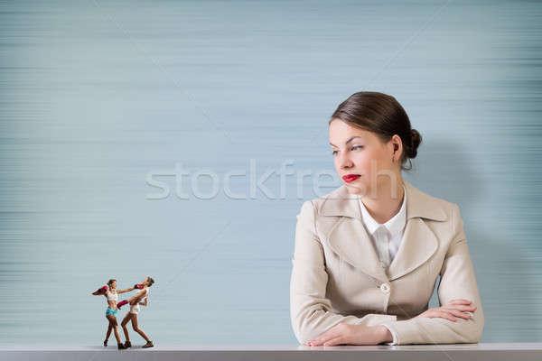 Affaires concurrence séduisant femme d'affaires deux boxe Photo stock © adam121