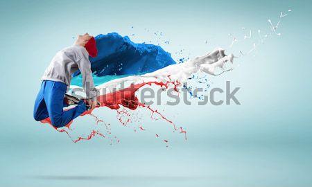 Balerin kırmızı elbise tutkulu kadın dansçı siyah Stok fotoğraf © adam121