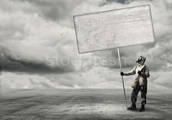 Photo stock: Apocalypse · catastrophe · masque · à · gaz · bannière · lieu · guerre