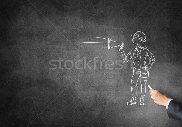 карикатура строителя женщину мужчины стороны рисунок Сток-фото © adam121