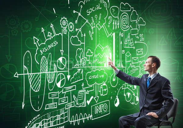 Empresário desenho estratégia de negócios sessão cadeira negócio Foto stock © adam121