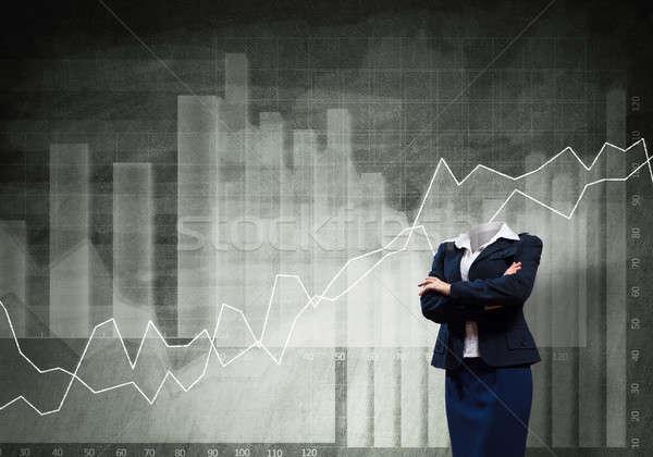 Zakenvrouw hoofd borst grijs business Stockfoto © adam121