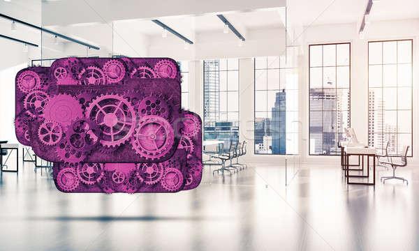 Web simgesi işbirliği renk dişliler mekanizma Stok fotoğraf © adam121