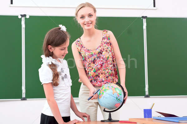 Professor lição geografia suporte escolas globo Foto stock © adam121