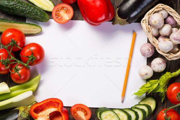 Zöldségek csempézett körül lap papír ceruza Stock fotó © adam121