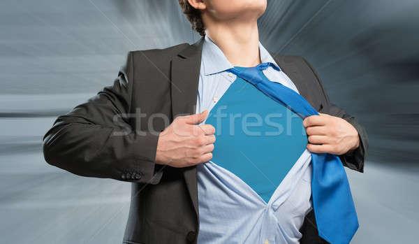 スーパーヒーロー ビジネスマン シャツ 青 服 ビジネス ストックフォト © adam121