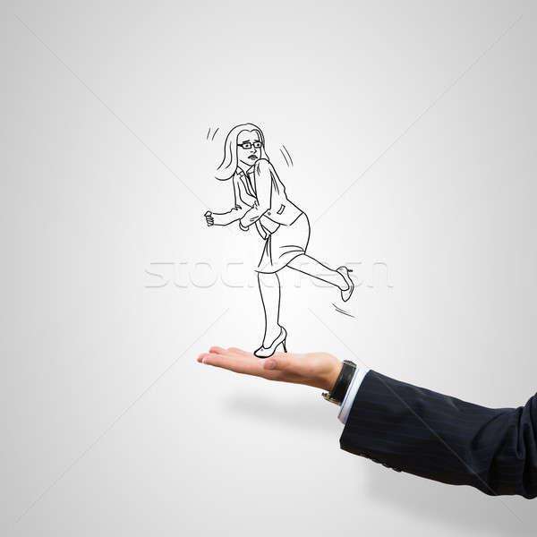 üzletasszony pálma rajzolt férfi szürke nő Stock fotó © adam121