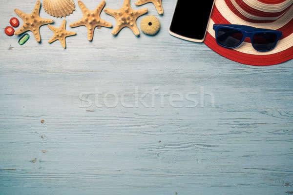 夏天 對象 假期 草帽 墨鏡 智能手機 商業照片 © adam121