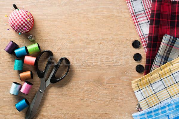 швейных таблице старые ножницы материальных Сток-фото © adam121