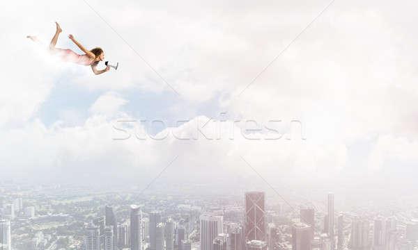 Szabad expressz fiatal nő megafon repülés magas Stock fotó © adam121