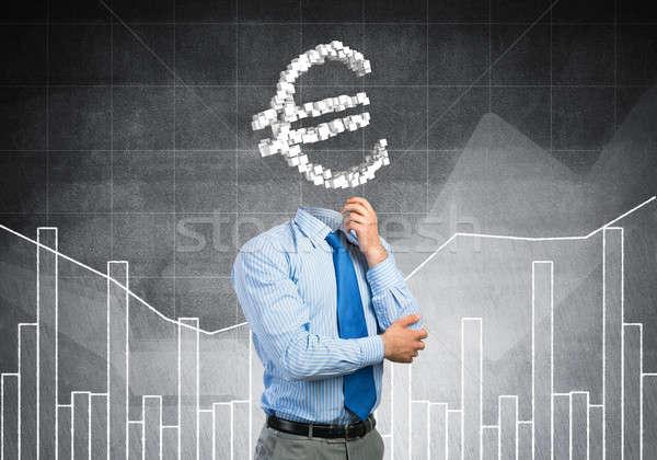 Altijd denken geld zakenman euro teken Stockfoto © adam121