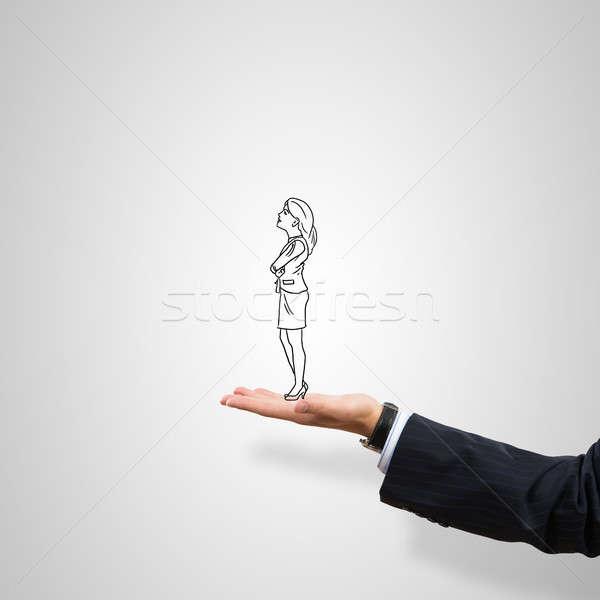 деловая женщина Palm мужчины серый женщину Сток-фото © adam121